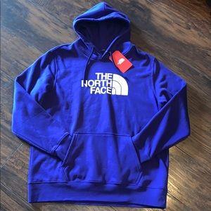 The north face blue/purple fleece hoodie size XL